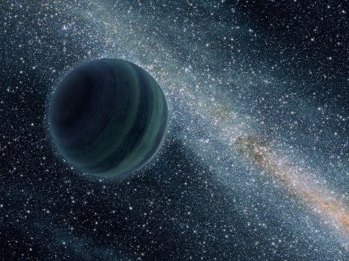 Artist's view of a free-floating planet.  Credit: Wikipedia commons.