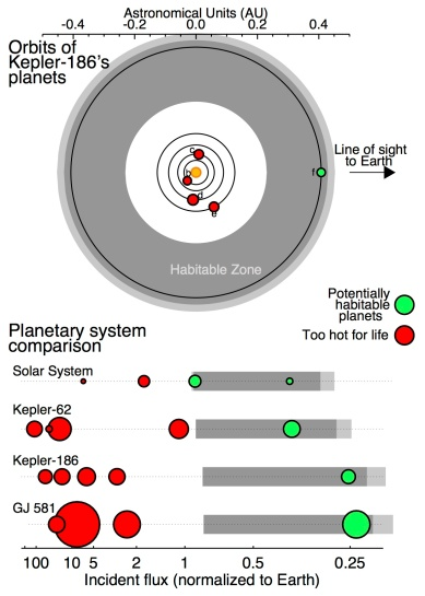 Schematic view of the Kepler-186 planetary system.  The top part shows a top-down view of the planets' orbits.  The planets' sizes are to scale but not on the same scale as the orbits.  The bottom part shows a comparison between four different systems with small planets in the habitable zone (gray shaded areas).  Credit: Sean Raymond, also Bolmont et al (2014).