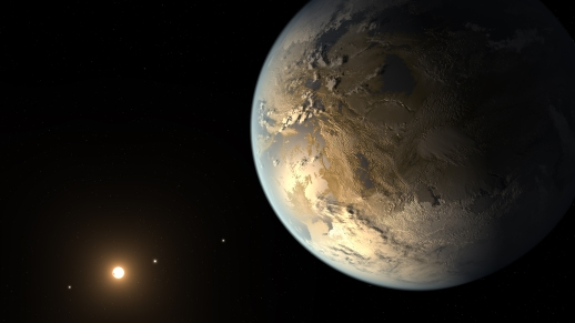 Artist's view of the potentially habitable planet Kepler-186f.  Credit: NASA/Ames/JPL-Caltech/T. Pyle.