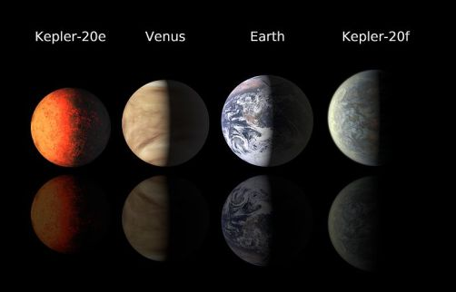 Four known roughly Earth-sized planets.  From left to right, and in increasing size order, the planets are Kepler-20e, Venus, Earth, and Kepler-20 f.  (The Kepler-20 planets are artists' impressions.)  Credit: NASA/Ames/JPL-Caltech