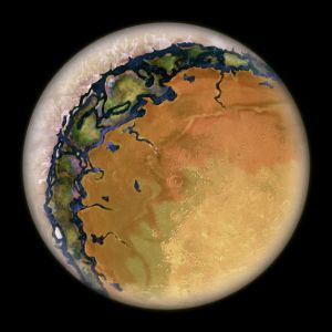 Artist's conception of a hot Eyeball planet.  The permanent day side is sun-baked and dry.  The permanent night side is covered with ice.  In between lies a thin ring of