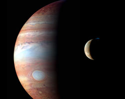 A crescent Io orbiting Jupiter.  Image taken by NASA's New Horizons mission.  Credit: NASA/JHU/APL