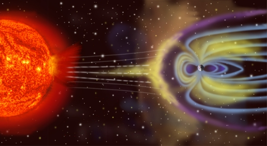 A representation of Earth's magnetosphere.  The planet's magnetic field deflects particles from the solar wind and keeps them from crashing unimpeded into Earth.  Credit: NASA.